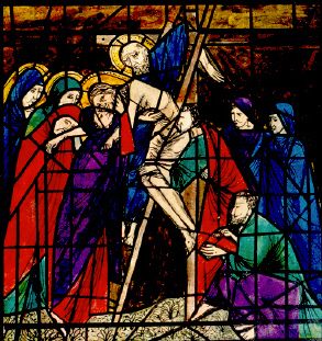 The Crucifixion- modern painted glass.