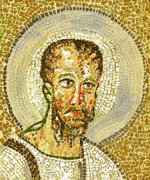 Christ in the Byzantine style of mosaics.